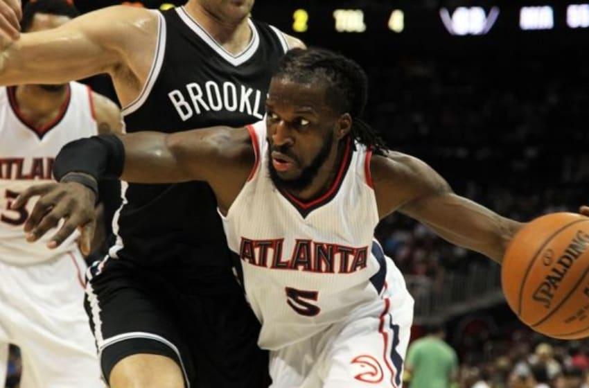 Apr 4, 2015; Atlanta, GA, USA; Atlanta Hawks forward DeMarre Carroll (5) drives to the basket against the Brooklyn Nets in the third quarter at Philips Arena. Mandatory Credit: Brett Davis-USA TODAY Sports