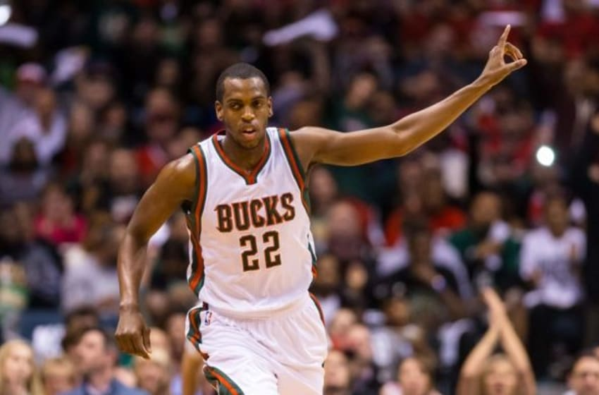 Apr 23, 2015; Milwaukee, WI, USA; Milwaukee Bucks guard Khris Middleton (22) during game three of the first round of the NBA Playoffs against the Chicago Bulls at BMO Harris Bradley Center. Chicago won 113-106. Mandatory Credit: Jeff Hanisch-USA TODAY Sports