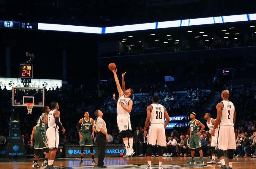 Nov 2, 2015; Brooklyn, NY, USA; General view of the opening tip-off between the Brooklyn Nets and the Milwaukee Bucks during the first quarter at Barclays Center. Mandatory Credit: Brad Penner-USA TODAY Sports