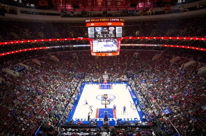 Dec 11, 2015; Philadelphia, PA, USA; General view of the Wells Fargo Center during a game between the Philadelphia 76ers and the Detroit Pistons. The Pistons won107-95. Mandatory Credit: Bill Streicher-USA TODAY Sports