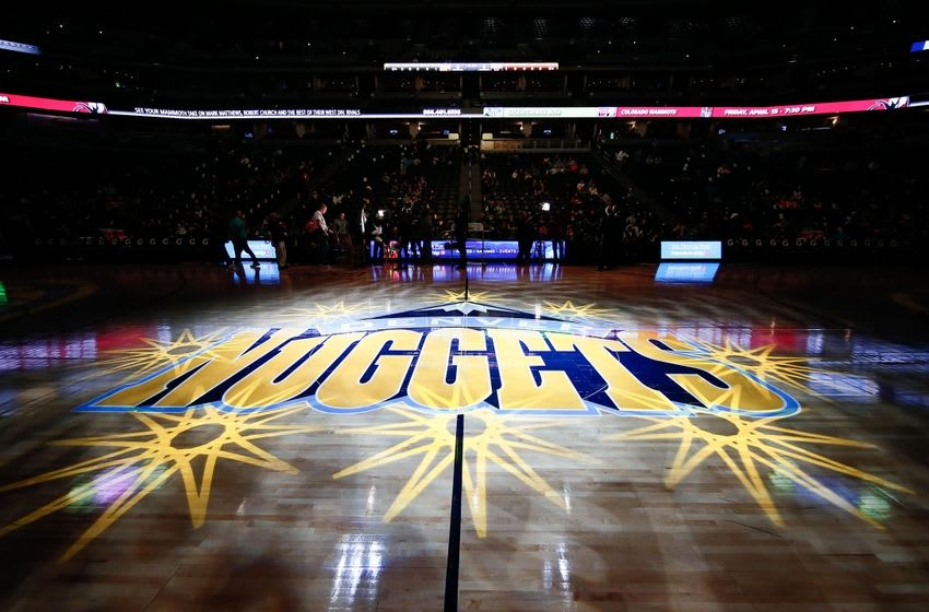 Mar 8, 2016; Denver, CO, USA; A general view of the Denver Nuggets logo on the floor prior to the game between the Denver Nuggets and the New York Knicks at the Pepsi Center. Mandatory Credit: Isaiah J. Downing-USA TODAY Sports