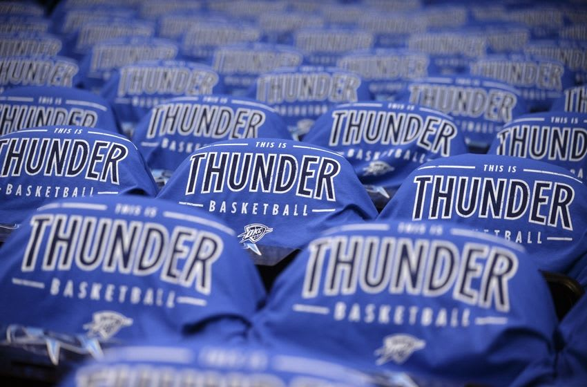 May 28, 2016; Oklahoma City, OK, USA; General view of t-shirts lining the seats before the game between the Oklahoma City Thunder and Golden State Warriors in game six of the Western conference finals of the NBA Playoffs at Chesapeake Energy Arena. Mandatory Credit: Mark D. Smith-USA TODAY Sports