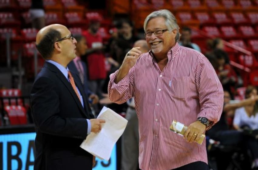 Dec 25, 2014; Miami, FL, USA; Miami Heat owner Micky Arison (right) talks with ESPN commentator Jeff Van Gundy (left) before a game against the Cleveland Cavaliers at American Airlines Arena. Mandatory Credit: Steve Mitchell-USA TODAY Sports