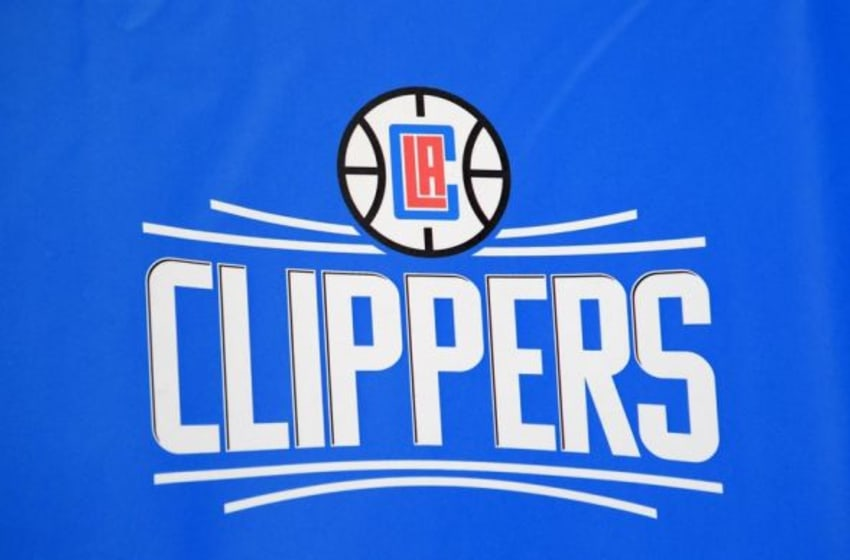 Jul 21, 2015; Los Angeles, CA, USA; General view of the Los Angeles Clippers logo that will be unveiled during the 2015-16 season at press conference at Staples Center. Mandatory Credit: Kirby Lee-USA TODAY Sports
