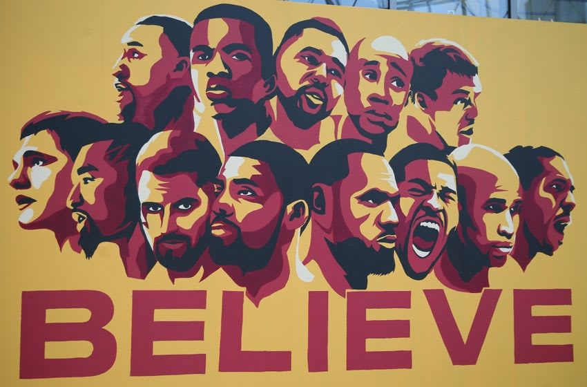Jun 16, 2016; Cleveland, OH, USA; A general view of a painting outside of Quicken Loans Arena prior to game six of the NBA Finals between the Cleveland Cavaliers and the Golden State Warriors. Mandatory Credit: Amber Searls-USA TODAY Sports