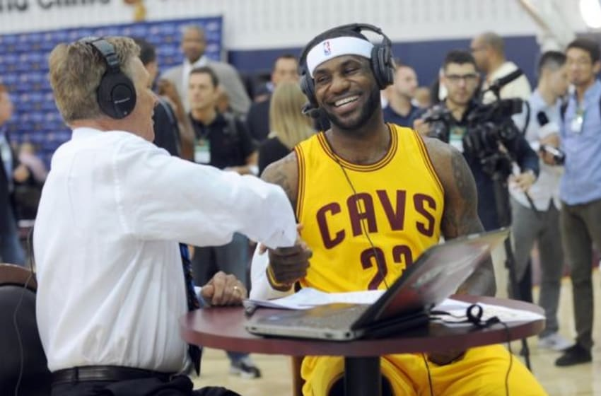 Sep 26, 2014; Cleveland, OH, USA; Cleveland Cavaliers forward LeBron James (23) does an interview at Cleveland Clinic Courtsduring media day during media day at Cleveland Clinic Courts. Mandatory Credit: Ken Blaze-USA TODAY Sports