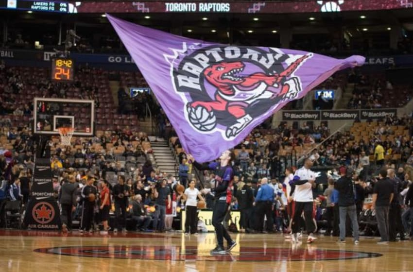 Mar 27, 2015; Toronto, Ontario, The Toronto Raptors are introduced at the beginning of a game against the Los Angeles Lakers at Air Canada Centre. The Toronto Raptors won 94-83. Mandatory Credit: Nick Turchiaro-USA TODAY Sports