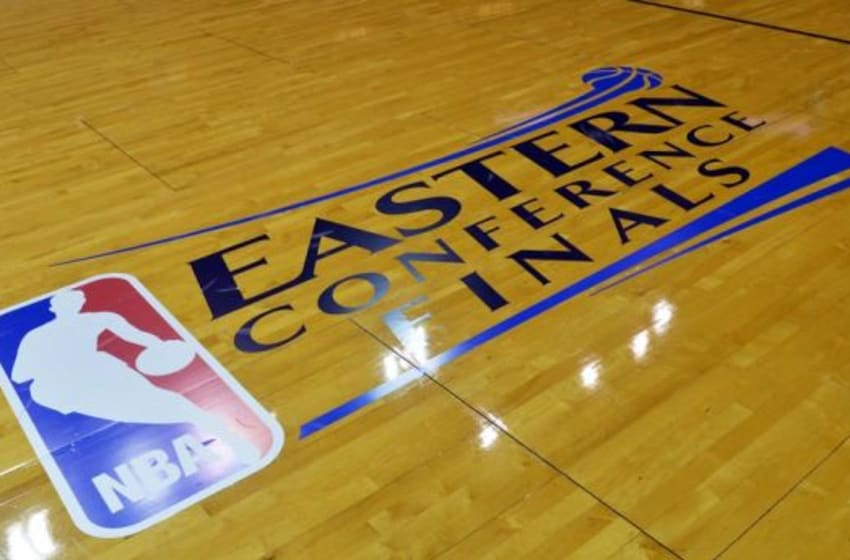 May 24, 2014; Miami, FL, USA; A general view of the NBA playoffs logo on the court before game three of the Eastern Conference Finals between the Indiana Pacers and the Miami Heat of the 2014 NBA Playoffs at American Airlines Arena. Mandatory Credit: Steve Mitchell-USA TODAY Sports