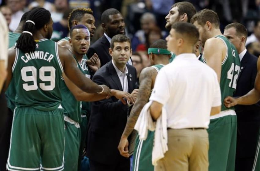 Nov 4, 2015; Indianapolis, IN, USA; Boston Celtics coach Brad Stevens talks to his team during a time out in a game against the Indiana Pacers at Bankers Life Fieldhouse. Indiana defeats Boston 100-98. Mandatory Credit: Brian Spurlock-USA TODAY Sports