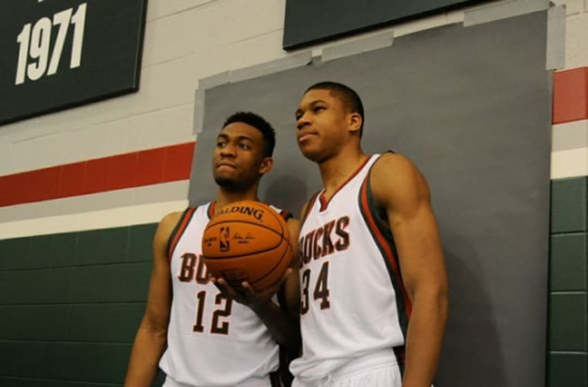 Sep 29, 2014; Milwaukee, WI, USA; Milwaukee Bucks players Jabari Parker (left) and Giannis Antetokounmpo pose for a picture during media day at the Cousins Center. Mandatory Credit: Benny Sieu-USA TODAY Sports