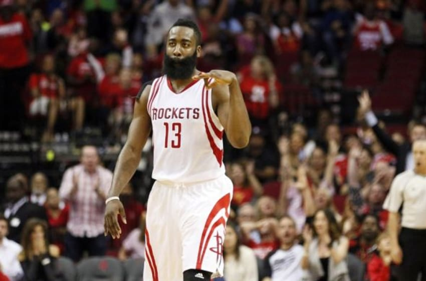 Nov 27, 2015; Houston, TX, USA; Houston Rockets shooting guard James Harden (13) reacts after a shot against the Philadelphia 76ers during the second half at Toyota Center. Mandatory Credit: Soobum Im-USA TODAY Sports