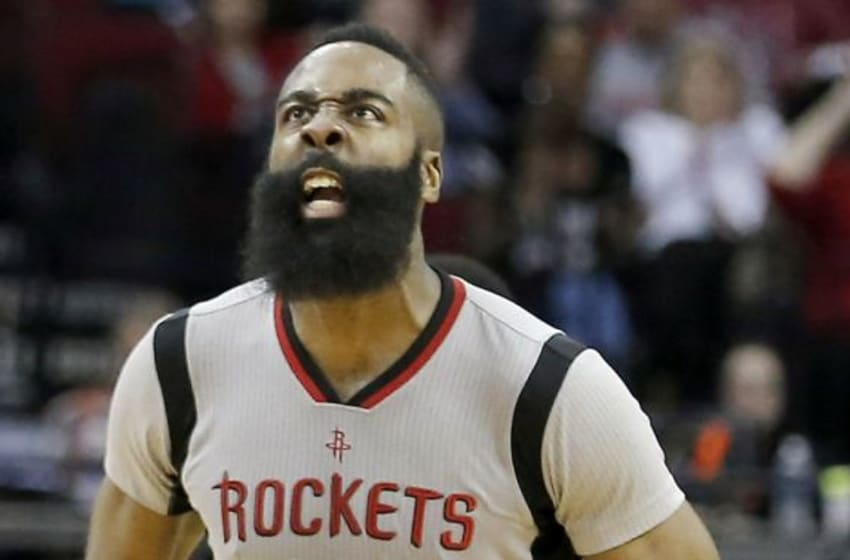 Jan 24, 2016; Houston, TX, USA; Houston Rockets guard James Harden (13) reacts after making a basket against the Dallas Mavericks in the second half at Toyota Center. Rockets won 115 to 104. Mandatory Credit: Thomas B. Shea-USA TODAY Sports