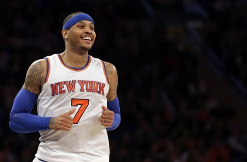 Mar 5, 2016; New York, NY, USA; New York Knicks forward Carmelo Anthony (7) reacts against the Detroit Pistons during the second half at Madison Square Garden. The Knicks defeated the Pistons 102-89. Mandatory Credit: Adam Hunger-USA TODAY Sports