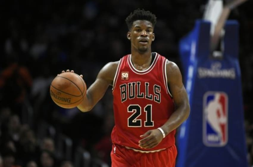 Jan 31, 2016; Los Angeles, CA, USA; Chicago Bulls guard Jimmy Butler (21) dribbles the ball during the third quarter against the Los Angeles Clippers at Staples Center. The Clippers won 120-93. Mandatory Credit: Kelvin Kuo-USA TODAY Sports