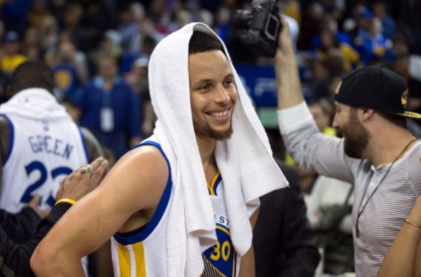 Mar 7, 2016; Oakland, CA, USA; Golden State Warriors guard Stephen Curry (30) after the win against the Orlando Magic at Oracle Arena. The Golden State Warriors defeated the Orlando Magic 119-113. Mandatory Credit: Kelley L Cox-USA TODAY Sports
