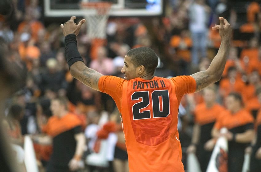 Feb 28, 2016; Corvallis, OR, USA; Oregon State Beavers guard Gary Payton II (20) celebrates a victory after a game against the Washington State Cougars at Gill Coliseum. The Beavers won 69-49. Mandatory Credit: Troy Wayrynen-USA TODAY Sports