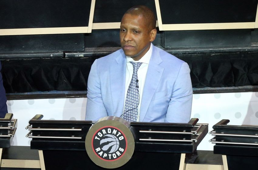 May 17, 2016; New York, NY, USA; Toronto Raptors general manager Masai Ujiri represents his team during the NBA draft lottery at New York Hilton Midtown. The Philadelphia 76ers received the first overall pick in the 2016 draft. Mandatory Credit: Brad Penner-USA TODAY Sports