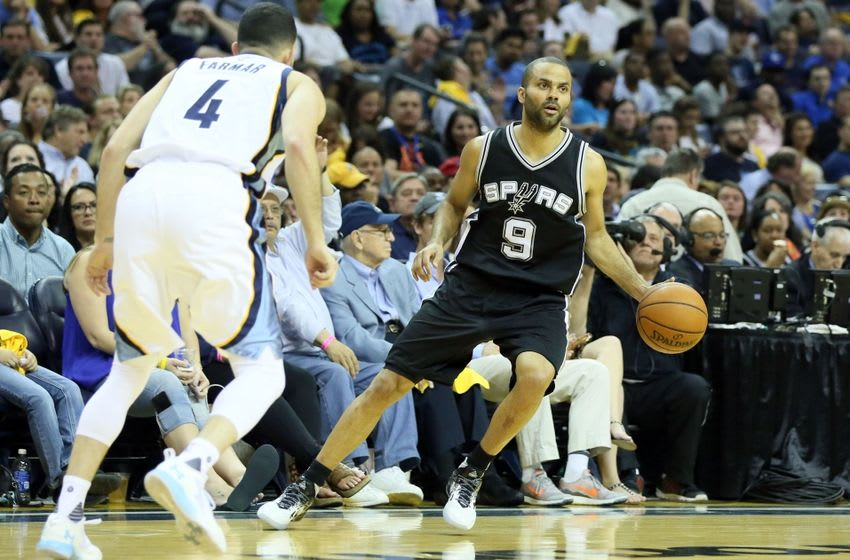 Apr 22, 2016; Memphis, TN, USA; San Antonio Spurs guard Tony Parker (9) dribbles in the first half against the Memphis Grizzlies in game three of the first round of the NBA Playoffs at FedExForum. Mandatory Credit: Nelson Chenault-USA TODAY Sports