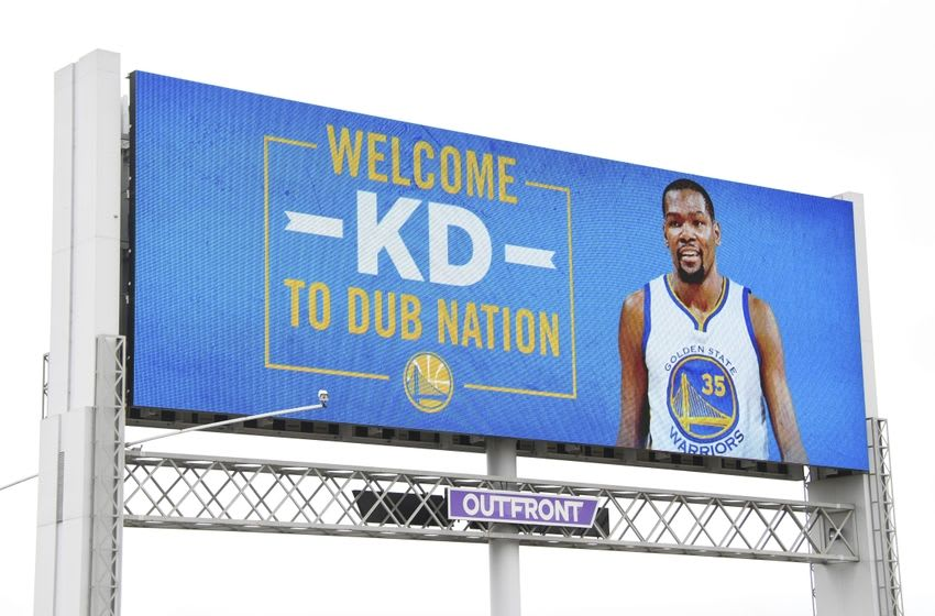 Jul 7, 2016; Oakland, CA, USA; A large welcome Kevin Durant digital billboard is displayed outside of Oracle Arena. Mandatory Credit: Kyle Terada-USA TODAY Sports