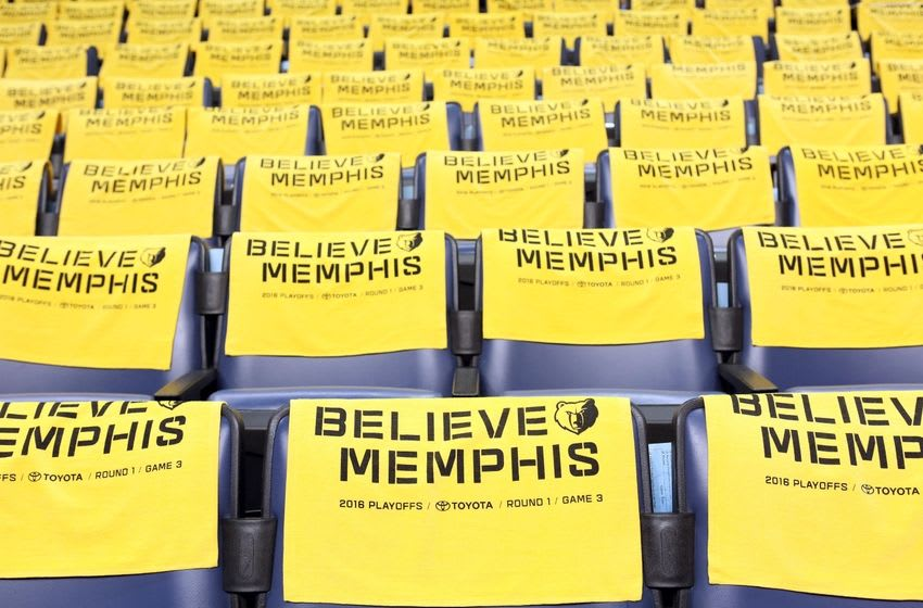 Apr 22, 2016; Memphis, TN, USA; General view of towels on the seats prior to the San Antonio Spurs at the Memphis Grizzlies in game three of the first round of the NBA Playoffs at FedExForum. Mandatory Credit: Nelson Chenault-USA TODAY Sports