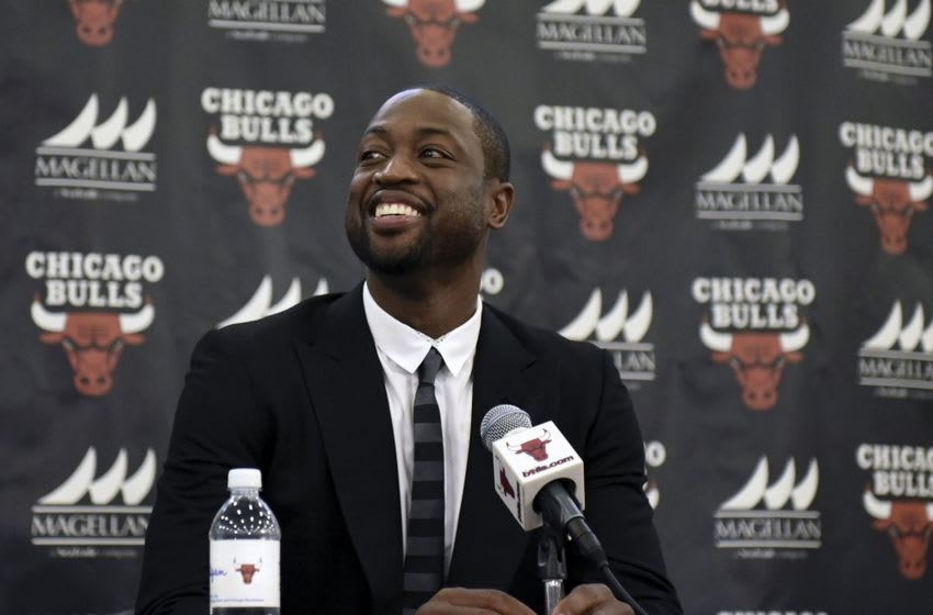 Jul 29, 2016; Chicago, IL, USA; Chicago Bulls guard Dwayne Wade addresses the media during a press conference at Advocate Center. Mandatory Credit: David Banks-USA TODAY Sports