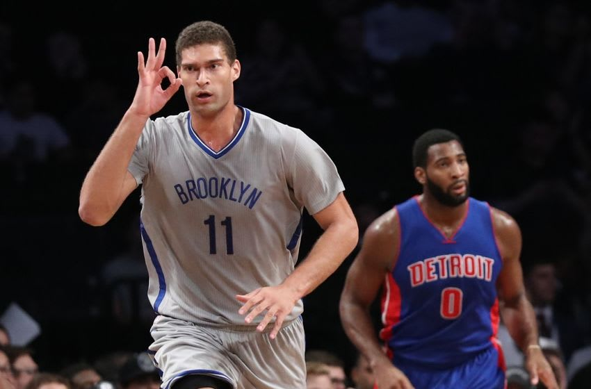 Nov 2, 2016; Brooklyn, NY, USA; Brooklyn Nets center Brook Lopez (11) gestures after scoring a three point basket during the first quarter against the Detroit Pistons at Barclays Center. Mandatory Credit: Anthony Gruppuso-USA TODAY Sports