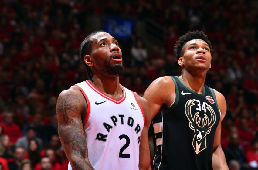 Toronto Raptors Kawhi Leonard Milwaukee Bucks Giannis Antetokounmpo. Photo by Jesse D. Garrabrant/NBAE via Getty Images