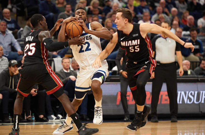 Minnesota Timberwolves Andrew Wiggins Miami Heat Duncan Robinson (Photo by Hannah Foslien/Getty Images)
