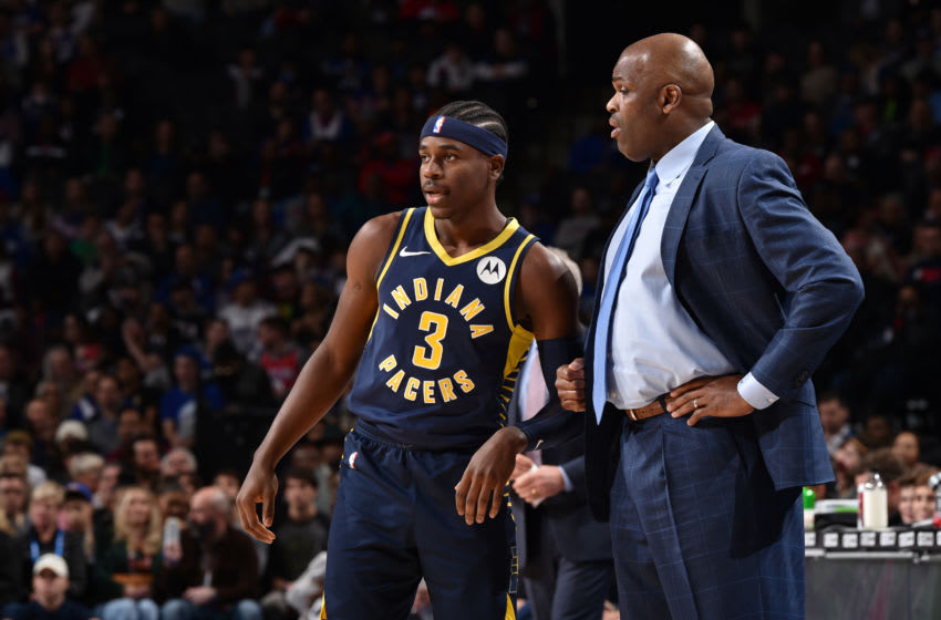 Indiana Pacers Aaron Holiday Nate McMillan. Copyright 2019 NBAE (Photo by David Dow/NBAE via Getty Images)