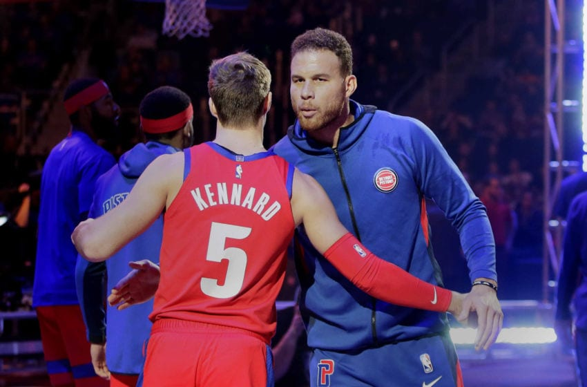 DETROIT, MI - NOVEMBER 29: Luke Kennard #5 of the Detroit Pistons and Blake Griffin #23 of the Detroit Pistons are introduced before a game against the Charlotte Hornets at Little Caesars Arena on November 29, 2019, in Detroit, Michigan. NOTE TO USER: User expressly acknowledges and agrees that, by downloading and or using this photograph, User is consenting to the terms and conditions of the Getty Images License Agreement. (Photo by Duane Burleson/Getty Images)