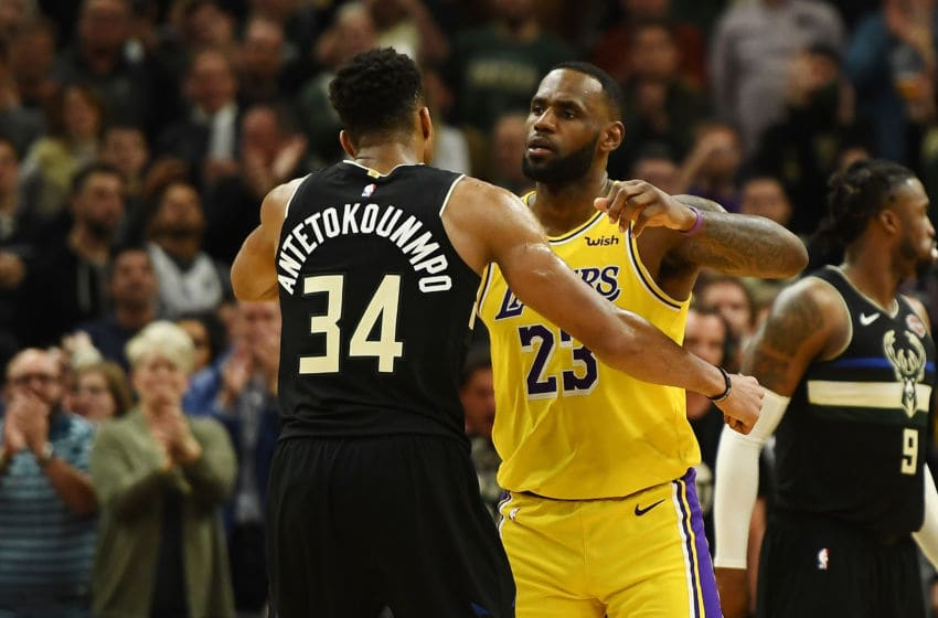 Giannis Antetokounmpo Milwaukee Bucks LeBron James Los Angeles Lakers (Photo by Stacy Revere/Getty Images)