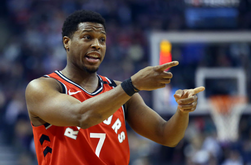 TORONTO, ON - FEBRUARY 10: Kyle Lowry #7 of the Toronto Raptors signals to a teammate during the first half of an NBA game against the Minnesota Timberwolves at Scotiabank Arena on February 10, 2020 in Toronto, Canada. NOTE TO USER: User expressly acknowledges and agrees that, by downloading and or using this photograph, User is consenting to the terms and conditions of the Getty Images License Agreement. (Photo by Vaughn Ridley/Getty Images)