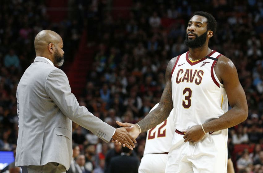 MIAMI, FLORIDA - FEBRUARY 22: Andre Drummond #3 of the Cleveland Cavaliers high fives head coach J.B. Bickerstaff of the Cleveland Cavaliers against the Miami Heat during the first half at American Airlines Arena on February 22, 2020 in Miami, Florida. NOTE TO USER: User expressly acknowledges and agrees that, by downloading and/or using this photograph, user is consenting to the terms and conditions of the Getty Images License Agreement. (Photo by Michael Reaves/Getty Images)