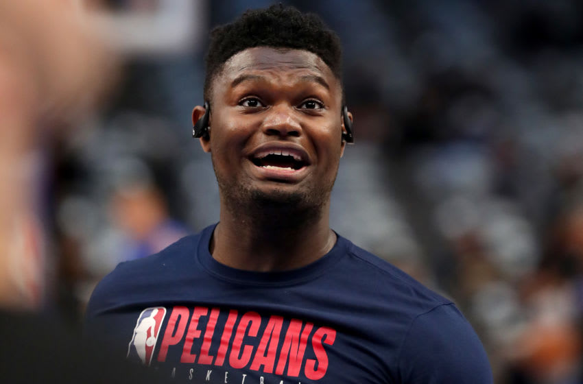 DALLAS, TEXAS - MARCH 04: Zion Williamson #1 of the New Orleans Pelicans warms up on the court before taking on the Dallas Mavericks at American Airlines Center on March 04, 2020 in Dallas, Texas. NOTE TO USER: User expressly acknowledges and agrees that, by downloading and or using this photograph, User is consenting to the terms and conditions of the Getty Images License Agreement. (Photo by Tom Pennington/Getty Images)
