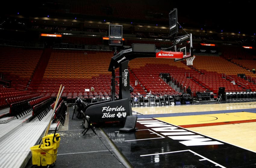 MIAMI, FLORIDA - MARCH 11: A general view of American Airlines Arena after the game between the Miami Heat and the Charlotte Hornets on March 11, 2020 in Miami, Florida. The NBA announced the season has been suspended after a Utah Jazz player preliminary tested positive for the coronavirus. NOTE TO USER: User expressly acknowledges and agrees that, by downloading and/or using this photograph, user is consenting to the terms and conditions of the Getty Images License Agreement. (Photo by Michael Reaves/Getty Images)
