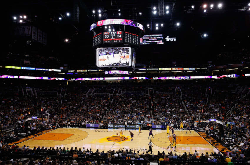 PHOENIX, AZ - DECEMBER 28: General view of action between the Cleveland Cavaliers and the Phoenix Suns during the NBA game at Talking Stick Resort Arena on December 28, 2015 in Phoenix, Arizona. NOTE TO USER: User expressly acknowledges and agrees that, by downloading and or using this photograph, User is consenting to the terms and conditions of the Getty Images License Agreement. (Photo by Christian Petersen/Getty Images)