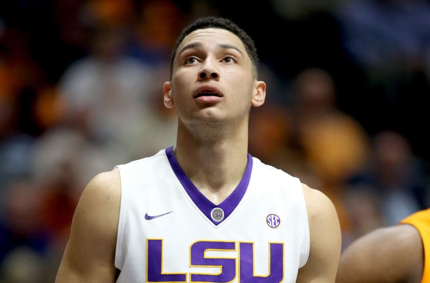 NASHVILLE, TN - MARCH 11: Ben Simmons #25 of the LSU Tigers waits to rebound the ball during the game against the Tennessee Volunteers during the quarterfinals of the SEC Basketball Tournament at Bridgestone Arena on March 11, 2016 in Nashville, Tennessee. (Photo by Andy Lyons/Getty Images)