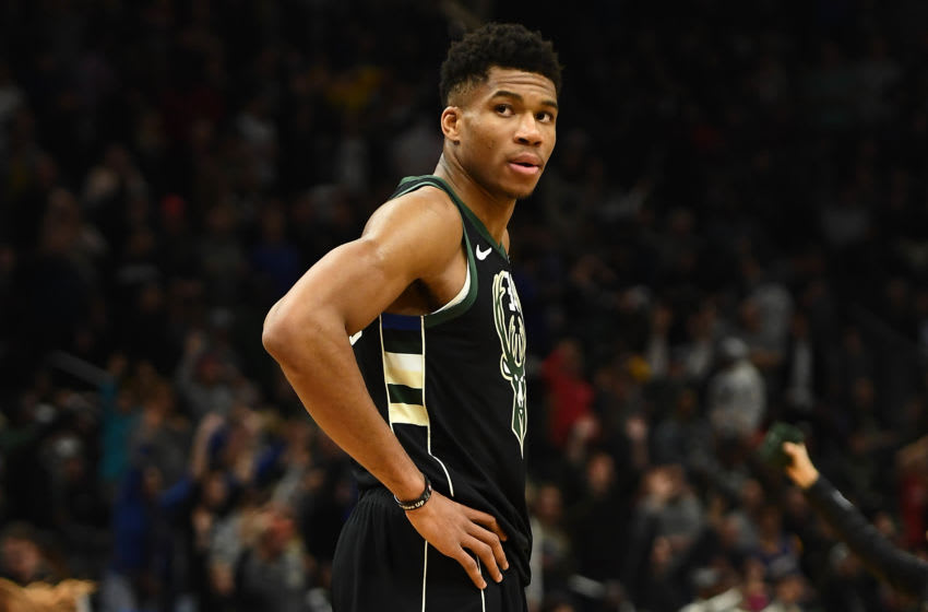 MILWAUKEE, WISCONSIN - DECEMBER 07: Giannis Antetokounmpo #34 of the Milwaukee Bucks waits for a free throw during a game against the Golden State Warriors at Fiserv Forum on December 07, 2018 in Milwaukee, Wisconsin. The Warriors defeated the Bucks 105-95. NOTE TO USER: User expressly acknowledges and agrees that, by downloading and or using this photograph, User is consenting to the terms and conditions of the Getty Images License Agreement. (Photo by Stacy Revere/Getty Images)