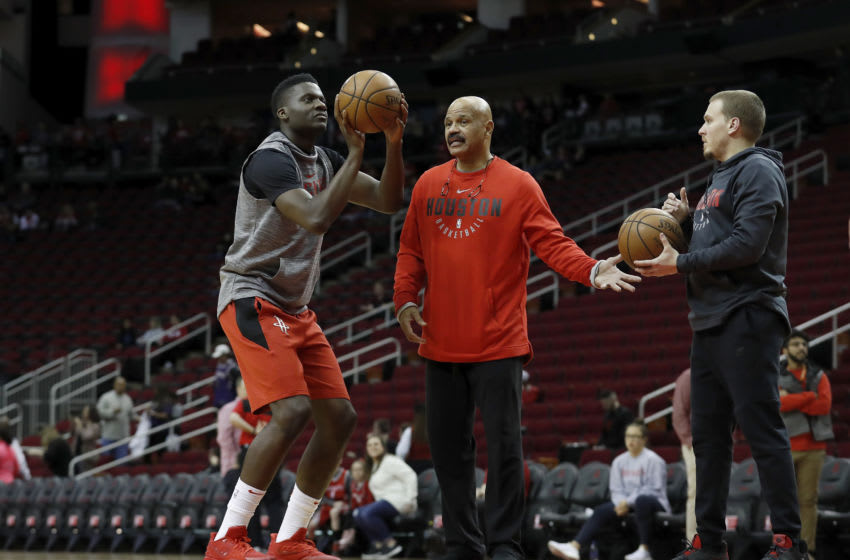 HOUSTON, TX - MARCH 15: Clint Capela #15 of the Houston Rockets warms up before the game against the Phoenix Suns at Toyota Center on March 15, 2019 in Houston, Texas. NOTE TO USER: User expressly acknowledges and agrees that, by downloading and or using this photograph, User is consenting to the terms and conditions of the Getty Images License Agreement. (Photo by Tim Warner/Getty Images)