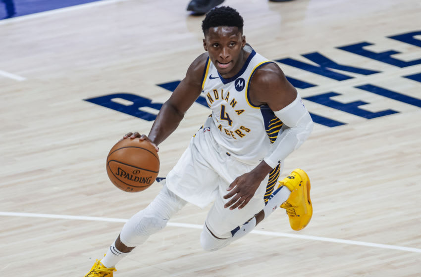 INDIANAPOLIS, IN - DECEMBER 29: Victor Oladipo #4 of the Indiana Pacers drives to the basket during the game against the Boston Celtics at Bankers Life Fieldhouse on December 29, 2020 in Indianapolis, Indiana. NOTE TO USER: User expressly acknowledges and agrees that, by downloading and or using this photograph, User is consenting to the terms and conditions of the Getty Images License Agreement. (Photo by Michael Hickey/Getty Images)