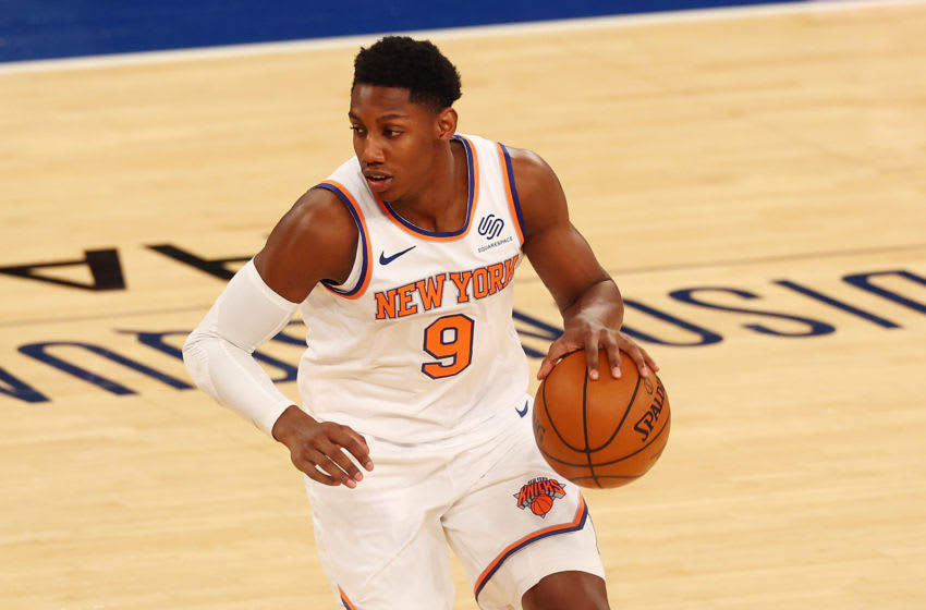 NEW YORK, NEW YORK - MARCH 29: RJ Barrett #9 of the New York Knicks in action against the Miami Heat at Madison Square Garden on March 29, 2021 in New York City. NOTE TO USER: User expressly acknowledges and agrees that, by downloading and or using this photograph, User is consenting to the terms and conditions of the Getty Images License Agreement. Miami Heat defeated the New York Knicks 98-88. (Photo by Mike Stobe/Getty Images)
