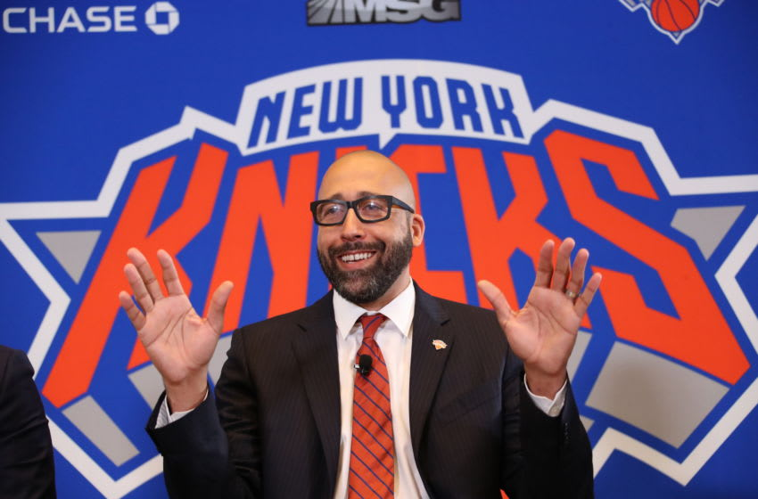 NEW YORK, NY - MAY 8: David Fizdale is announced as the new head coach of the New York Knicks during a press conference on May 8, 2018 at Madison Square Garden in New York City, New York. NOTE TO USER: User expressly acknowledges and agrees that, by downloading and or using this photograph, User is consenting to the terms and conditions of the Getty Images License Agreement. Mandatory Copyright Notice: Copyright 2018 NBAE (Photo by Nathaniel S. Butler/NBAE via Getty Images)