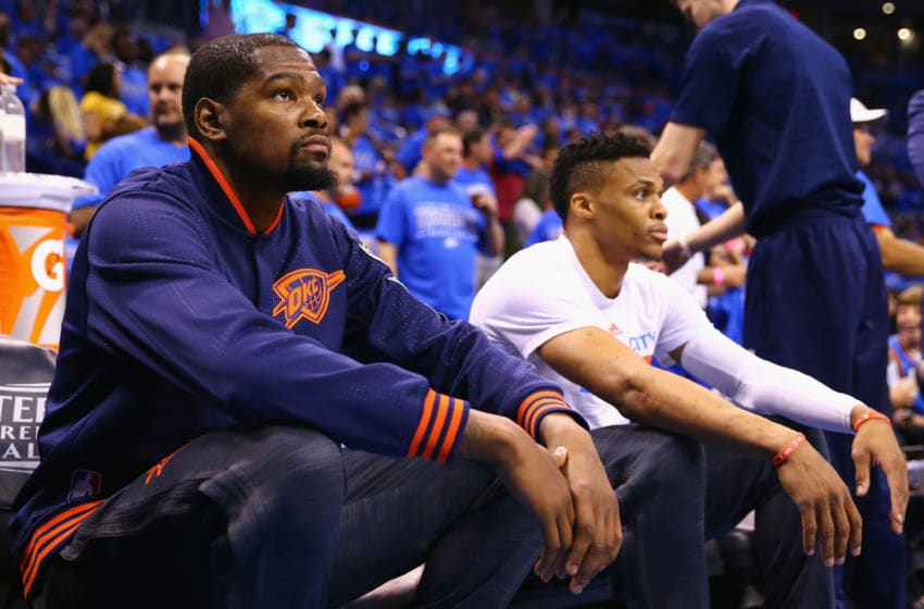 OKLAHOMA CITY, OK - MAY 28: Kevin Durant #35 of the Oklahoma City Thunder and Russell Westbrook #0 look on prior to game six of the Western Conference Finals against the Golden State Warriors during the 2016 NBA Playoffs at Chesapeake Energy Arena on May 28, 2016 in Oklahoma City, Oklahoma. NOTE TO USER: User expressly acknowledges and agrees that, by downloading and or using this photograph, User is consenting to the terms and conditions of the Getty Images License Agreement. (Photo by Maddie Meyer/Getty Images)