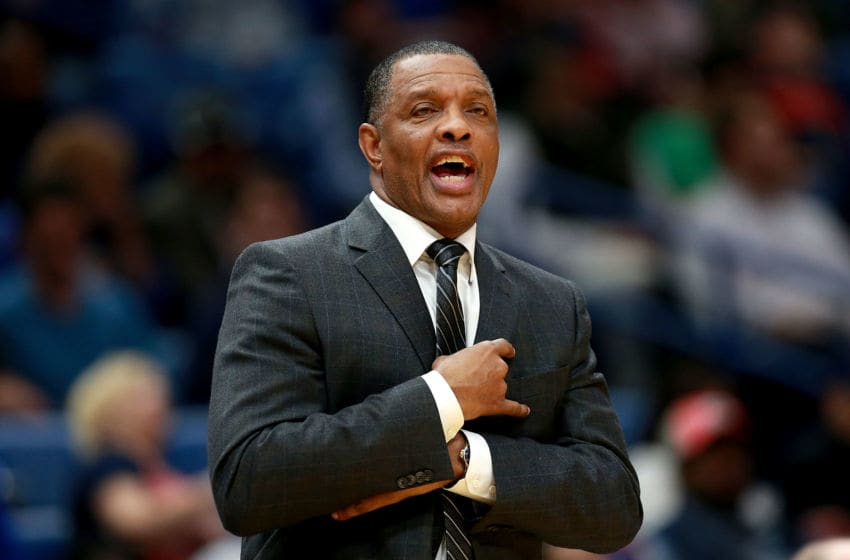 NEW ORLEANS, LA - NOVEMBER 22: Head coach Alvin Gentry of the New Orleans Pelicans looks on during the first half of a NBA game against the San Antonio Spurs at the Smoothie King Center on November 22, 2017 in New Orleans, Louisiana. NOTE TO USER: User expressly acknowledges and agrees that, by downloading and or using this photograph, User is consenting to the terms and conditions of the Getty Images License Agreement. (Photo by Sean Gardner/Getty Images)