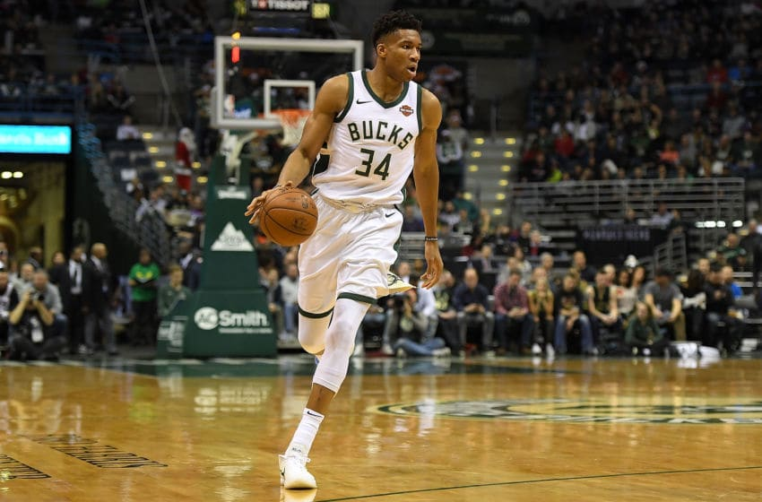 MILWAUKEE, WI - DECEMBER 22: Giannis Antetokounmpo #34 of the Milwaukee Bucks handles the ball during a game against the Charlotte Hornets at the Bradley Center on December 22, 2017 in Milwaukee, Wisconsin. NOTE TO USER: User expressly acknowledges and agrees that, by downloading and or using this photograph, User is consenting to the terms and conditions of the Getty Images License Agreement. (Photo by Stacy Revere/Getty Images)