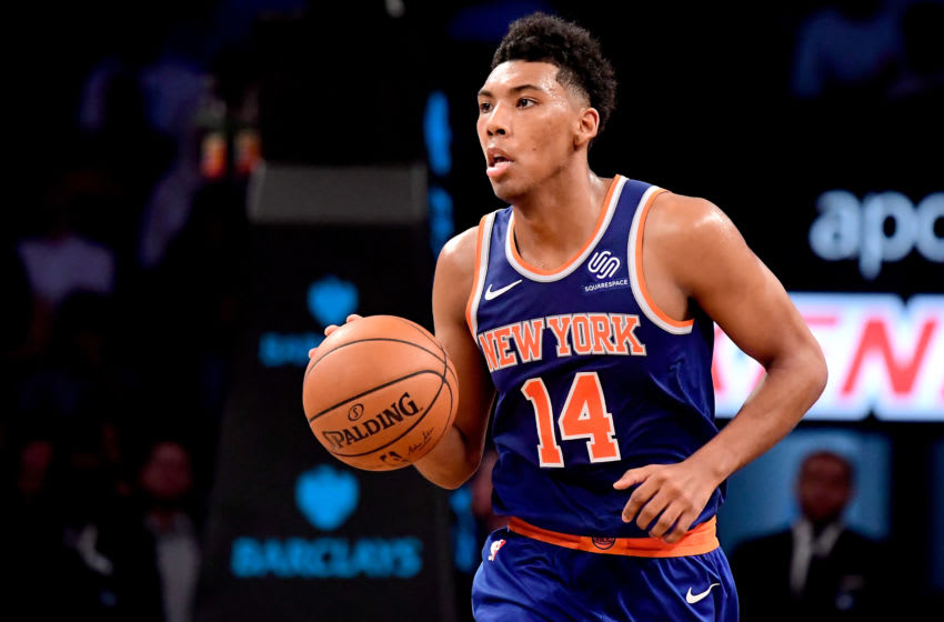 NEW YORK, NY - OCTOBER 03: Allonzo Trier #14 of the New York Knicks in action against the Brooklyn Nets during a preseason game at Barclays Center on October 3, 2018 in New York City. NOTE TO USER: User expressly acknowledges and agrees that, by downloading and or using this photograph, User is consenting to the terms and conditions of the Getty Images License Agreement. (Photo by Steven Ryan/Getty Images)