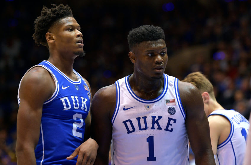 DURHAM, NC - OCTOBER 19: Cam Reddish #2 and Zion Williamson #1 of the Duke Blue Devils look on during Countdown to Craziness at Cameron Indoor Stadium on October 19, 2018 in Durham, North Carolina. (Photo by Lance King/Getty Images)