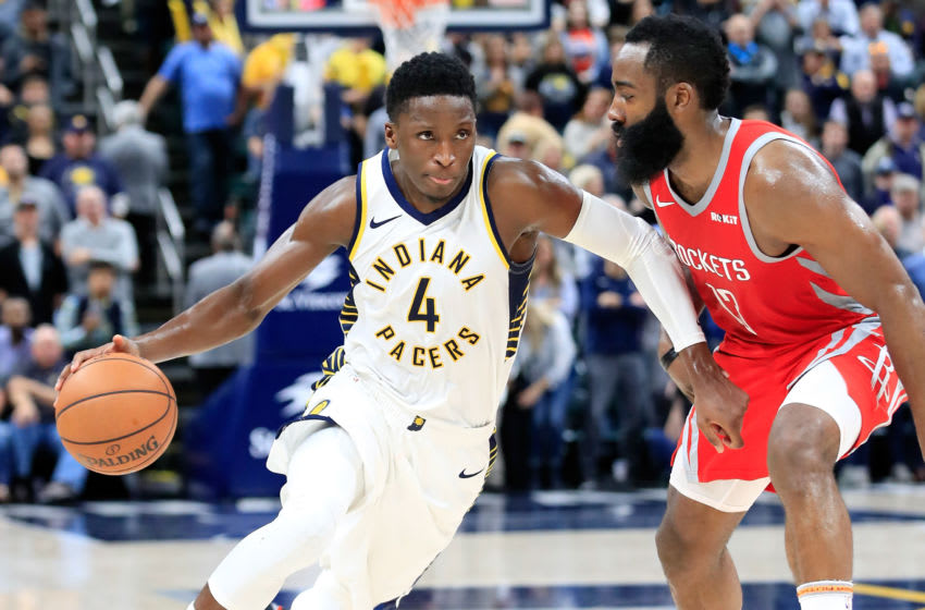INDIANAPOLIS, IN - NOVEMBER 05: Victor Oladipo #4 of the Indiana Pacers dribbles the ball while defended by James Harden #13 of the Houston Rockets at Bankers Life Fieldhouse on November 5, 2018 in Indianapolis, Indiana. NOTE TO USER: User expressly acknowledges and agrees that, by downloading and or using this photograph, User is consenting to the terms and conditions of the Getty Images License Agreement. (Photo by Andy Lyons/Getty Images)