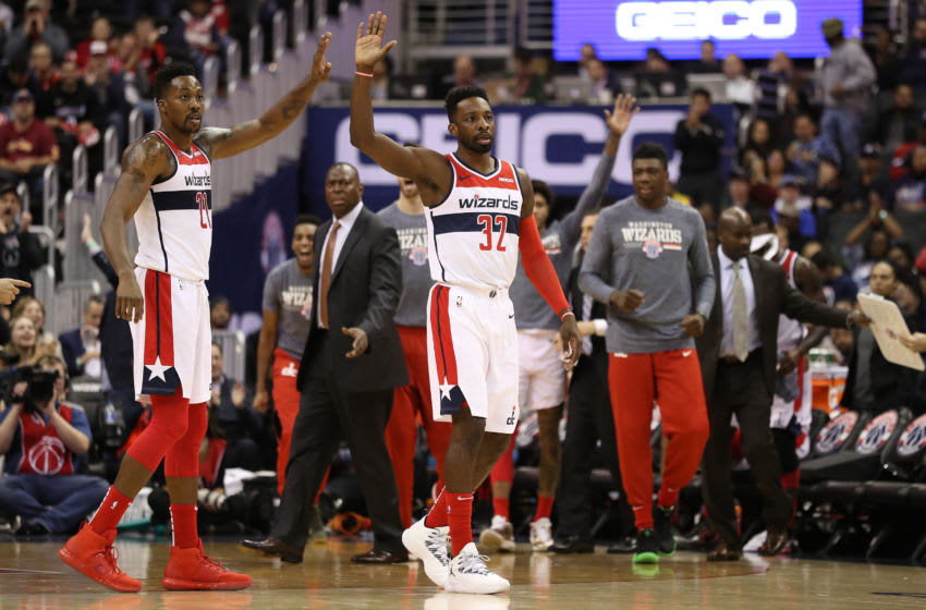 WASHINGTON, DC - NOVEMBER 12: Jeff Green #32 of the Washington Wizards celebrates with teammates against the Orlando Magic during the second half at Capital One Arena on November 12, 2018 in Washington, DC. NOTE TO USER: User expressly acknowledges and agrees that, by downloading and or using this photograph, User is consenting to the terms and conditions of the Getty Images License Agreement. (Photo by Patrick Smith/Getty Images)