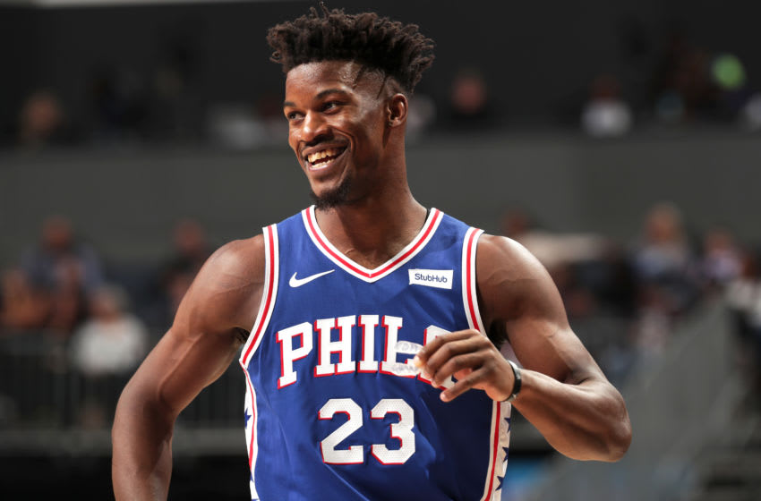 CHARLOTTE, NC - NOVEMBER 17: Jimmy Butler #23 of the Philadelphia 76ers looks on during the game against the Charlotte Hornets on November 17, 2018 at Spectrum Center in Charlotte, North Carolina. NOTE TO USER: User expressly acknowledges and agrees that, by downloading and or using this photograph, User is consenting to the terms and conditions of the Getty Images License Agreement. Mandatory Copyright Notice: Copyright 2018 NBAE (Photo by Kent Smith/NBAE via Getty Images)